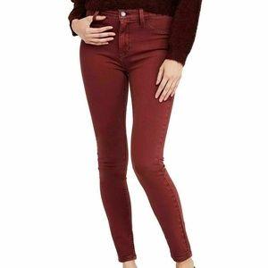 Free People 30 Red Mocha Skinny Lean Jeans 3Y76